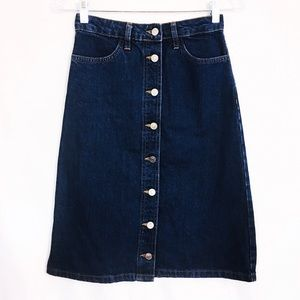 TOPSHOP MOTO Vintage Button Down Midi Skirt